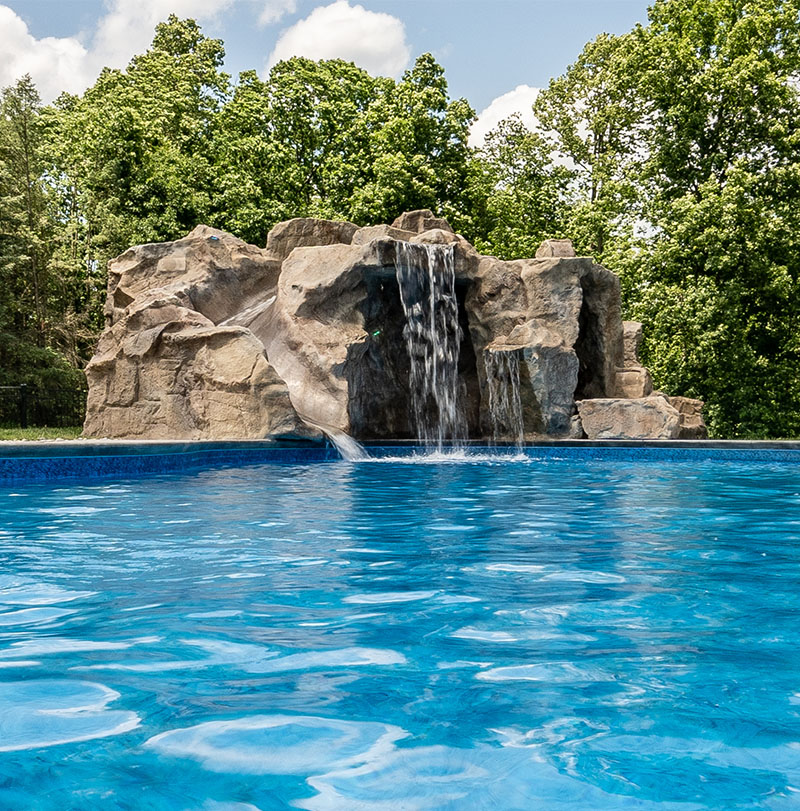 poolside water features rock water slides waterfalls grottos